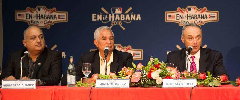 From left: Heriberto Suárez, Cuban baseball commissioner; Higinio Vélez, president of the Cuban Baseball Federation; Robert Manfred, Major League Baseball commissioner, meeting in Havana in March.