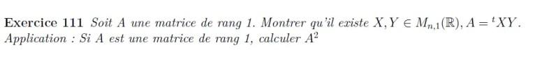 Caractérisation matrice de rang 1