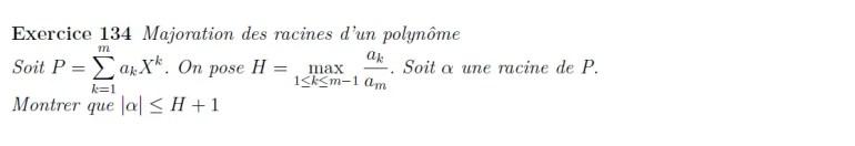 Majoration des racines d'un polynôme
