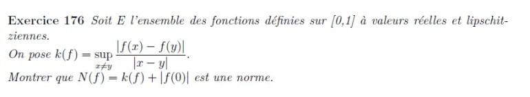 Norme sur les fonctions lipschitziennes