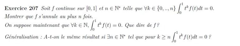 Intégrale de polynômes et fonction nulle