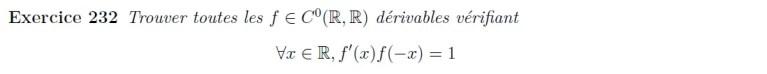Equation fonctionnelle et dérivée
