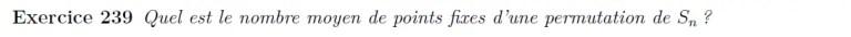 Nombre de points fixes de permutation