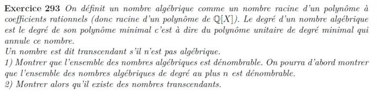 dénombrabilité nombres algébriques