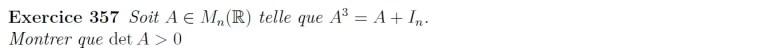 Equation matricielle déterminant