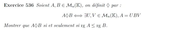 Propriété sur le rang d'une matrice