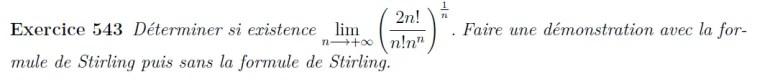 Limite de suite à calculer, formule de Stirling