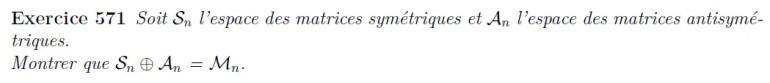 Egalité espace vectoriel matrice