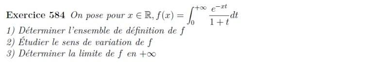 Etude d'intégrale impropre