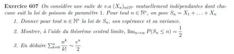 Théorème centrale limite exercice