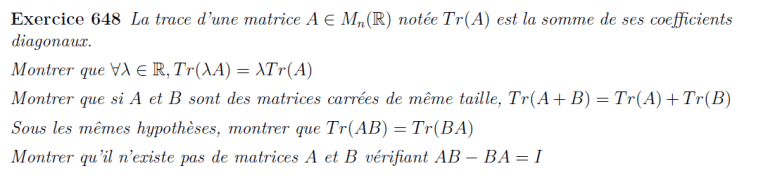 Exercice trace matrice
