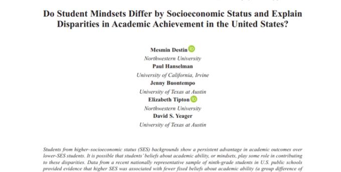 De relaties tussen sociaaleconomische status, mindsets en schoolprestaties
