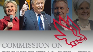 Hillary Clinton, Donald Trump, Gary Johnson, and Jill Stein above the Commission on Presidential Debates logo.