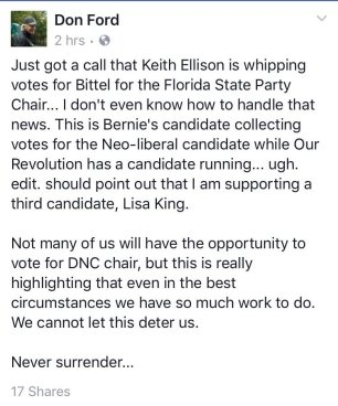 Facebook Post by Don Ford claiming Keith Ellison is whipping votes for millionaire Stephen Bittel
