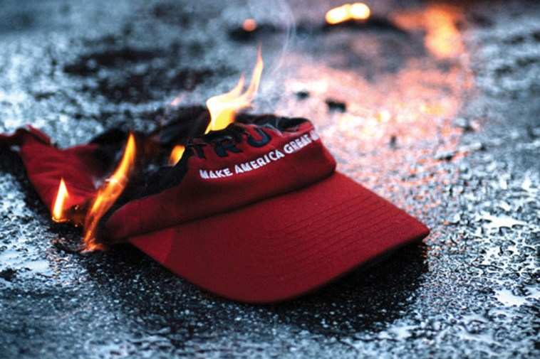 Trump campaign hat on fire