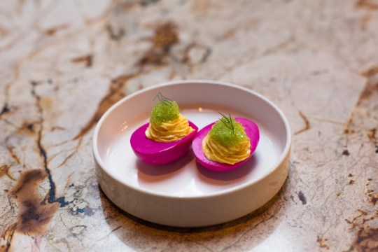 Beet-Pickeled Deviled Eggs with Wasabi Tobiko