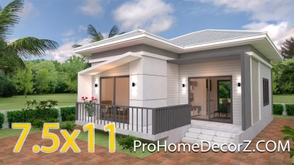 Cute Small Houses 7.5x11 Meter 25x36 Feet 2 beds