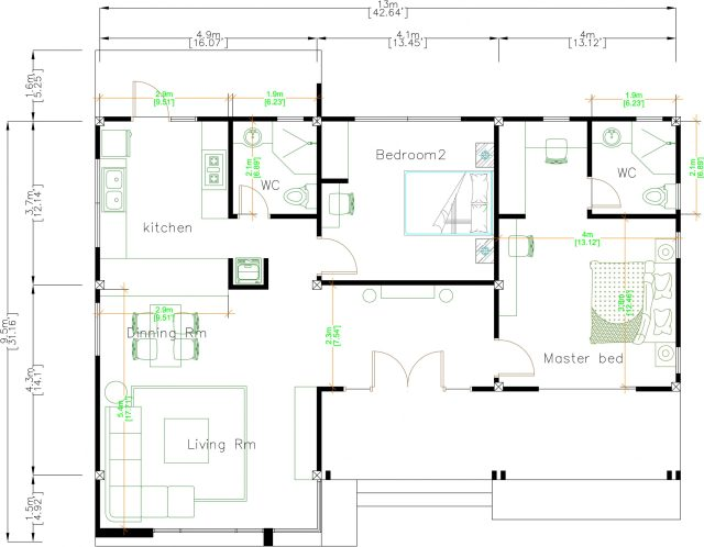 Floor Plan Drawing 13x9.5 Meter 43x31 Feet 2 Beds layout floor plan
