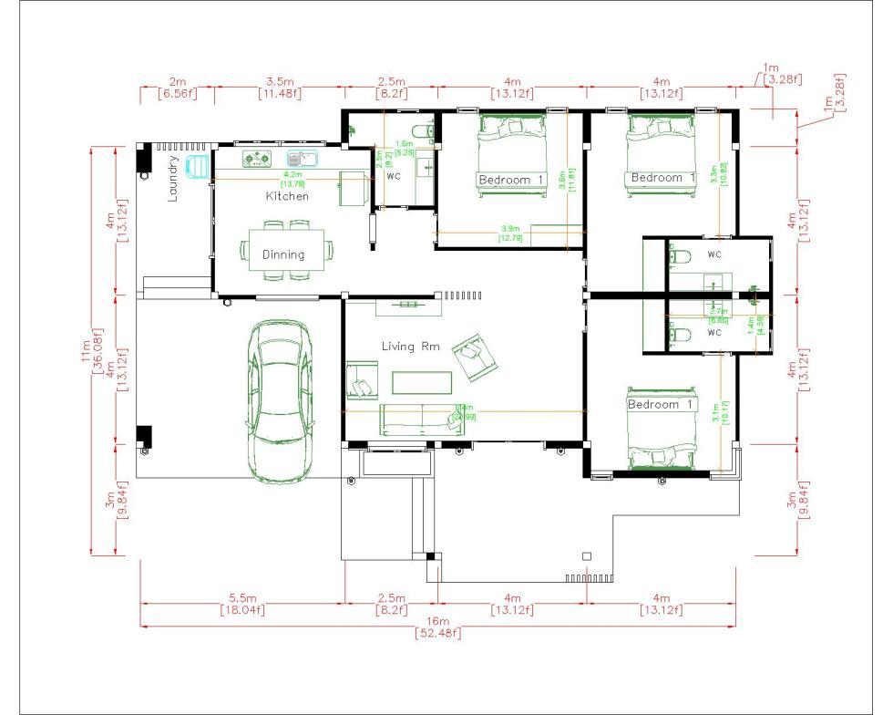 House Designs Plans 16x11 Meter 53x36 Feet 3 Beds layout floor plan