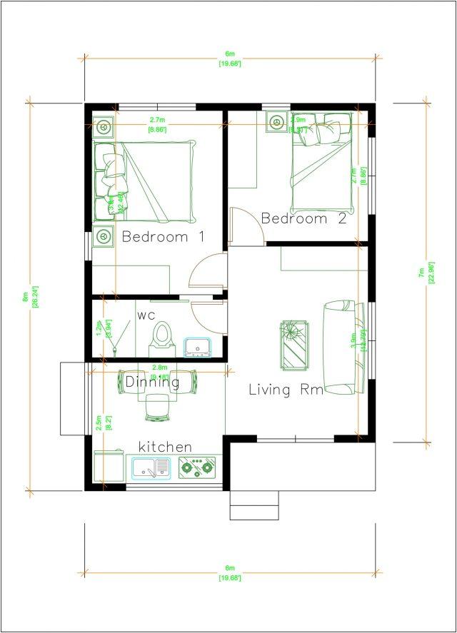 Modern Tiny House 6x8 Meter 20x26 Feet Hip Roof Layout Plan