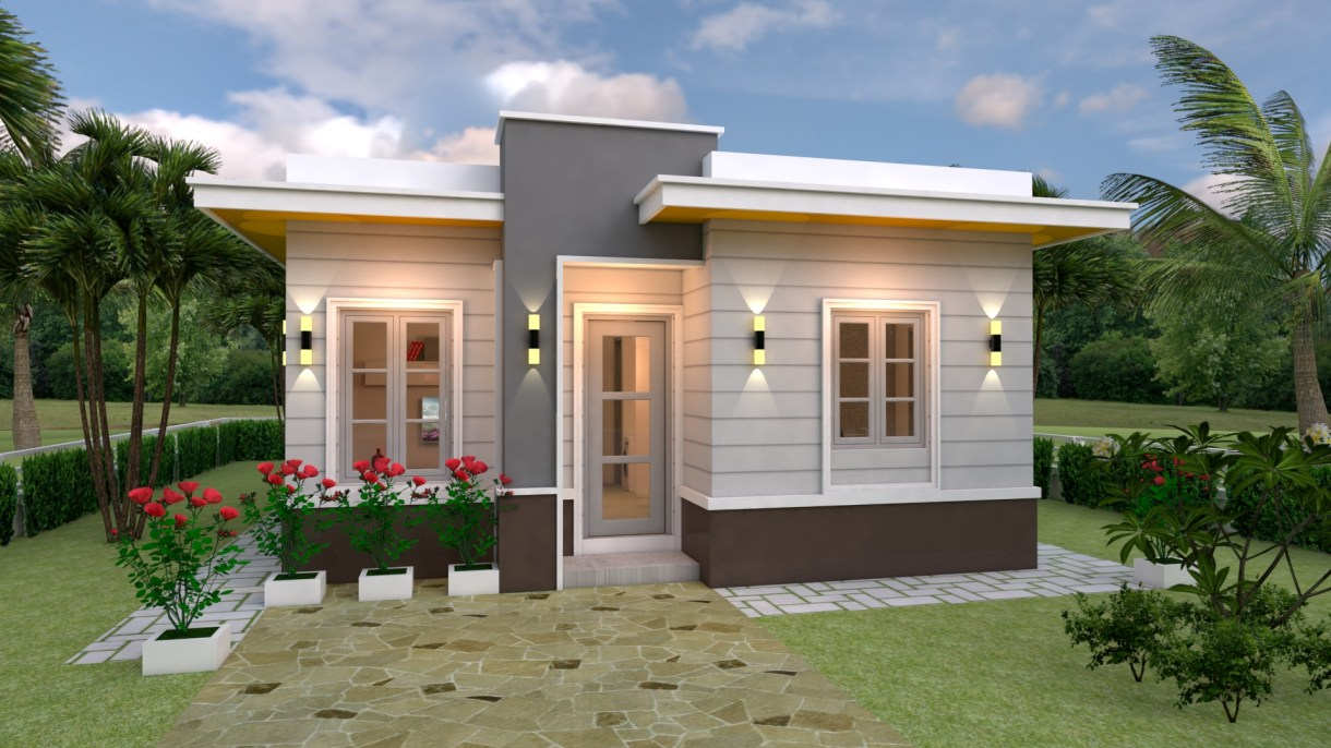 House Design 3d 7x10 Meter 23x33 Feet 3 Bedrooms Terrace Roof