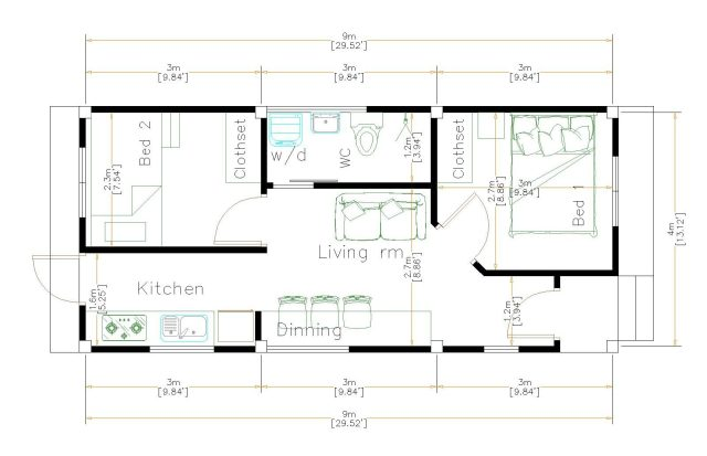 One Level House Plans 4x9 Meter 13x30 Feet floor plan