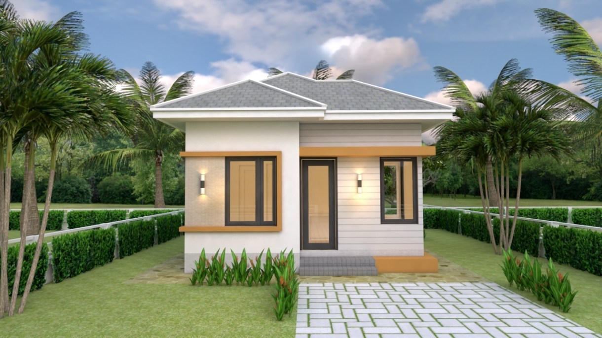 Small House Plans 5.5x6.5 with One Bedroom Hip roof Front House Elevation
