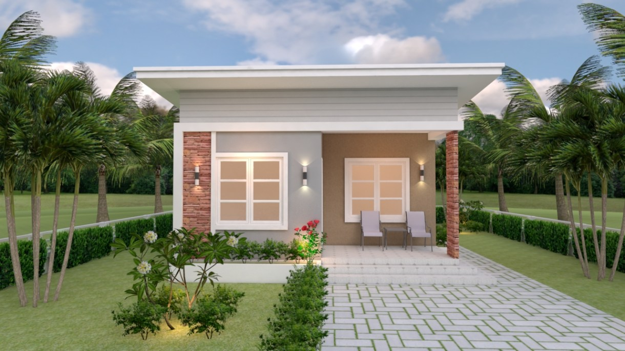 House Design 3d 6.5x8 Meter 21x26 Feet 2 Bedrooms Shed Roof