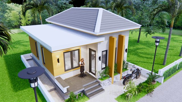Single Story House Plans 6x8 Meter 20x27 Feet 2 Beds 2