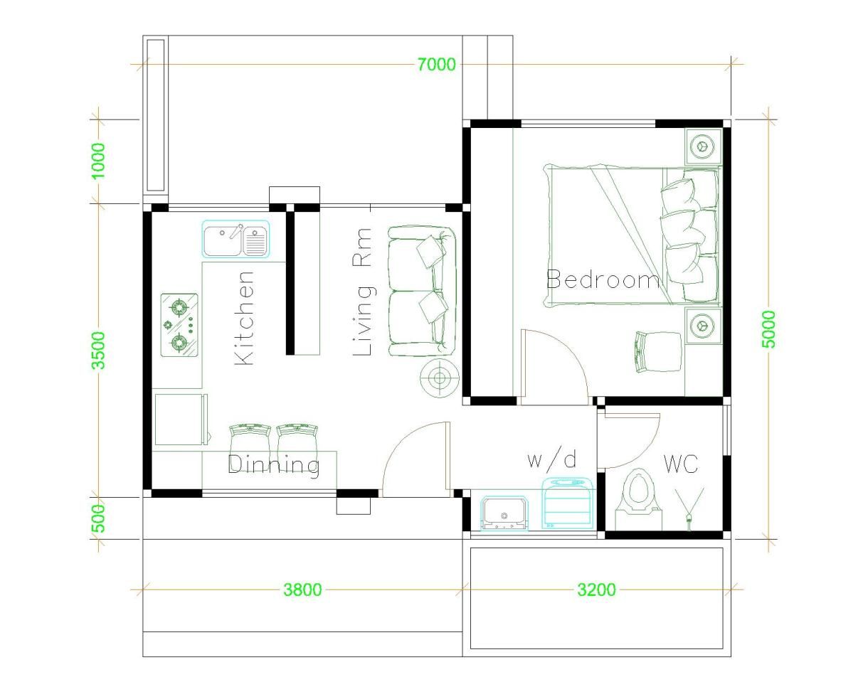 Small House Design Plans 5x7 Meter with One Bedroom Hip Roof House Layout floor Plan