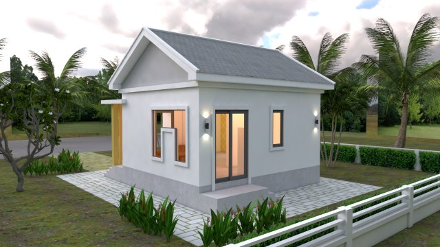 Small Cottage Designs 6x6 Meters Gable Roof 20x20 Feet 3