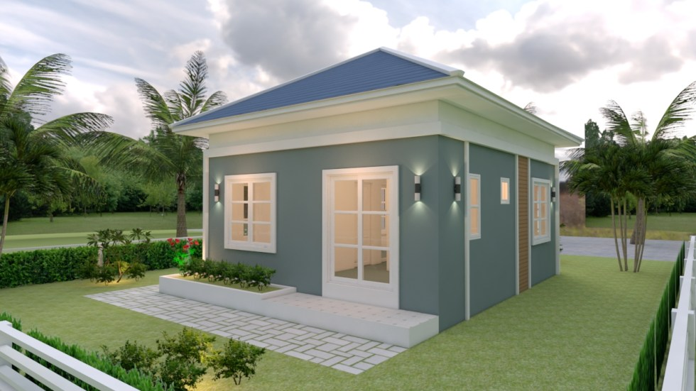 Small Cottage House 6.5x8 Meter 21x26 Feet Hip Roof 4
