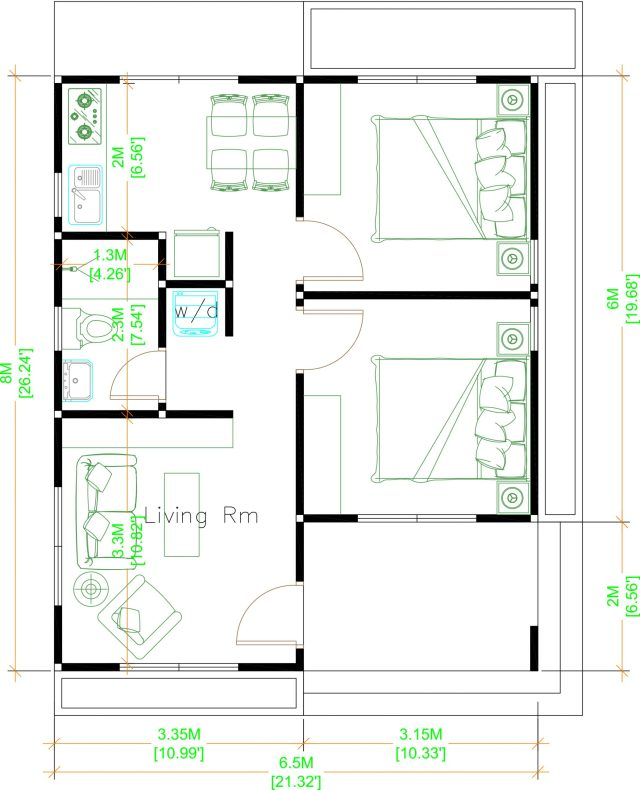 Small Cottage House 6.5x8 Meter 21x26 Feet Hip Roof Layout floor plan