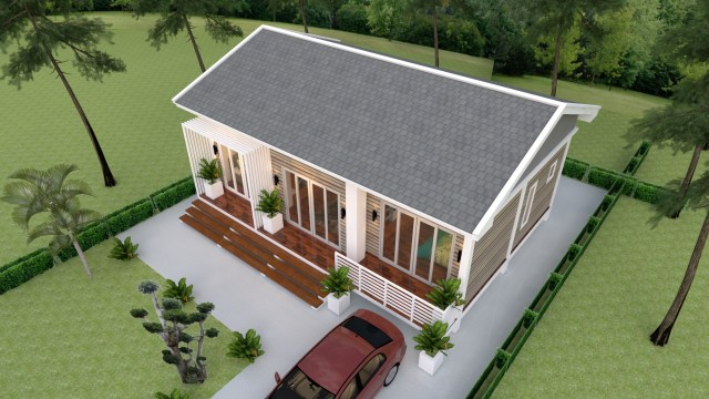 Small House Plans 10x8 Meter 27x34 Feet 3 Beds 4