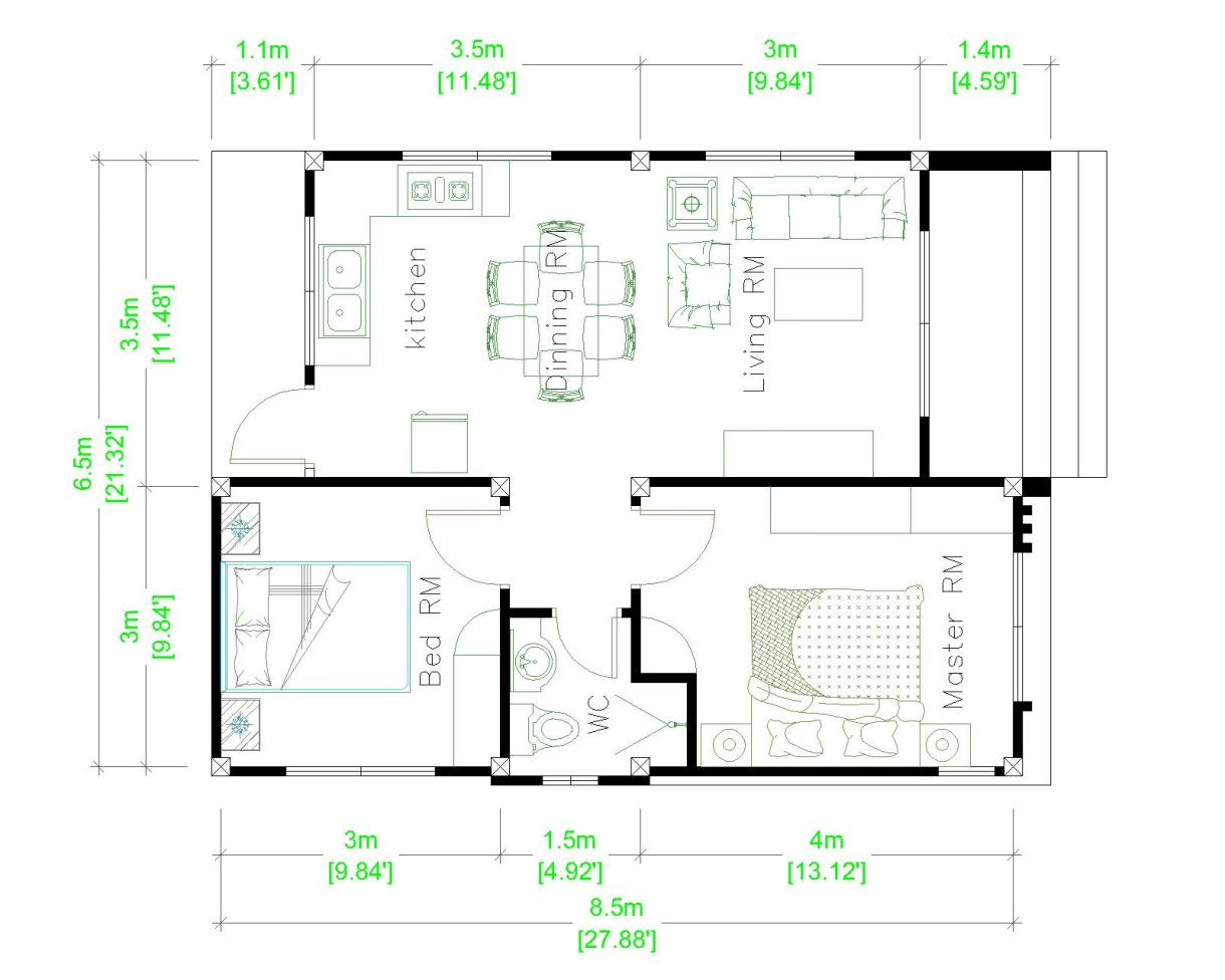 Small Mansion 6.5x8.5 Meter 22x28 Feet Hip roof Layout plan