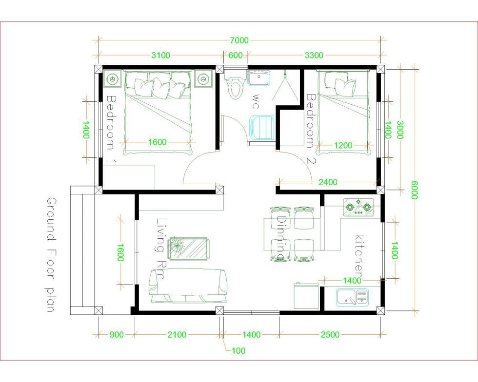Small Modern Homes 6x7 Meter 20x23 Feet 2 Bedrooms floor plan