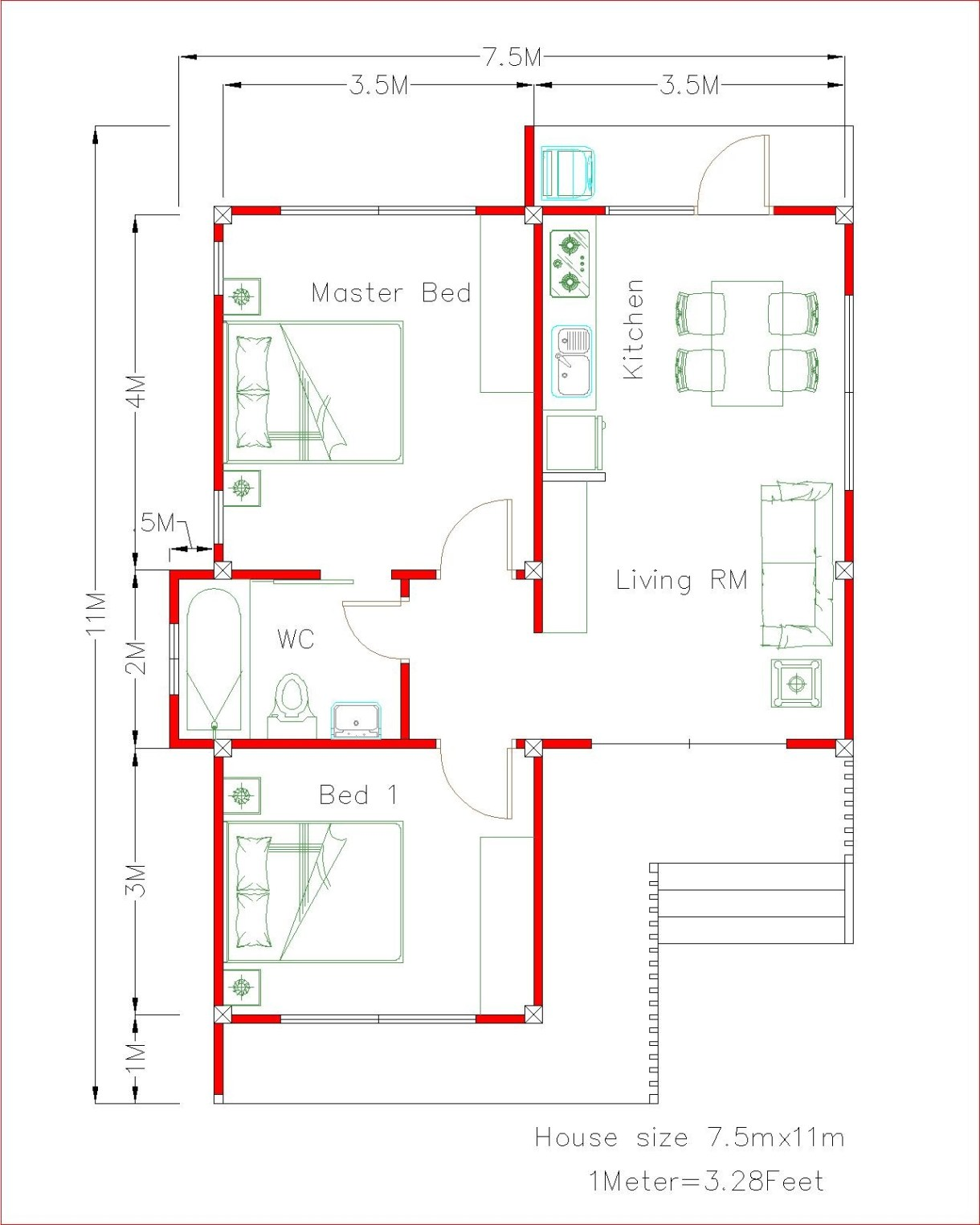 House Design 3d 7.5x11 Meter 25x36 Feet 2 bedrooms Shed Roof