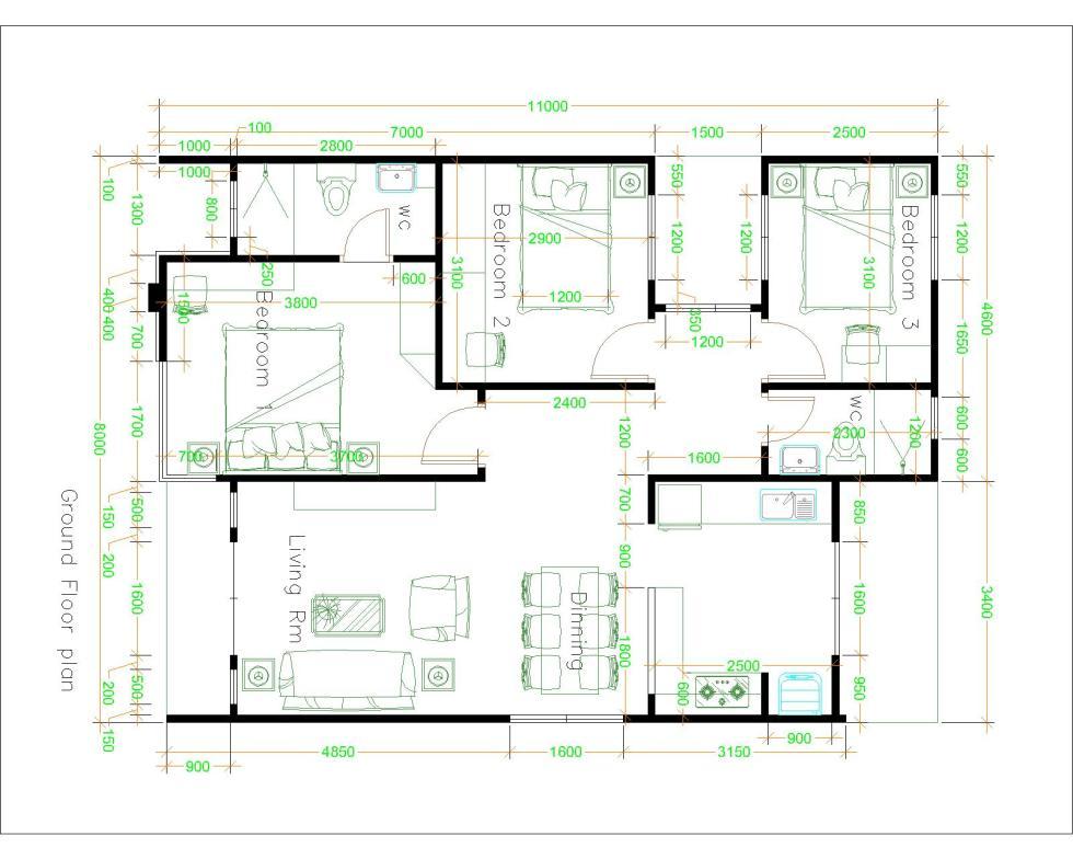 Small Villa Designs 8x11 Meter 26x36 Feet 3 Beds Layout Plan