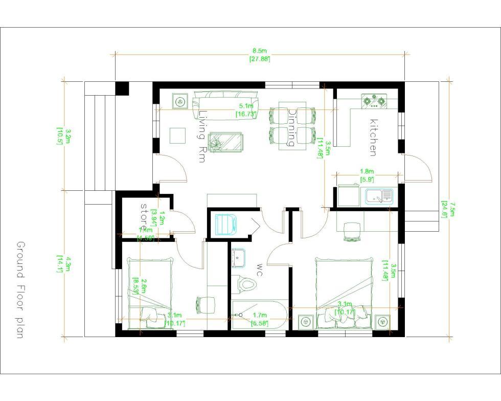 Two Bedroom Tiny House 7.5x8.5 Meter 25x29 Feet Layout floor plan