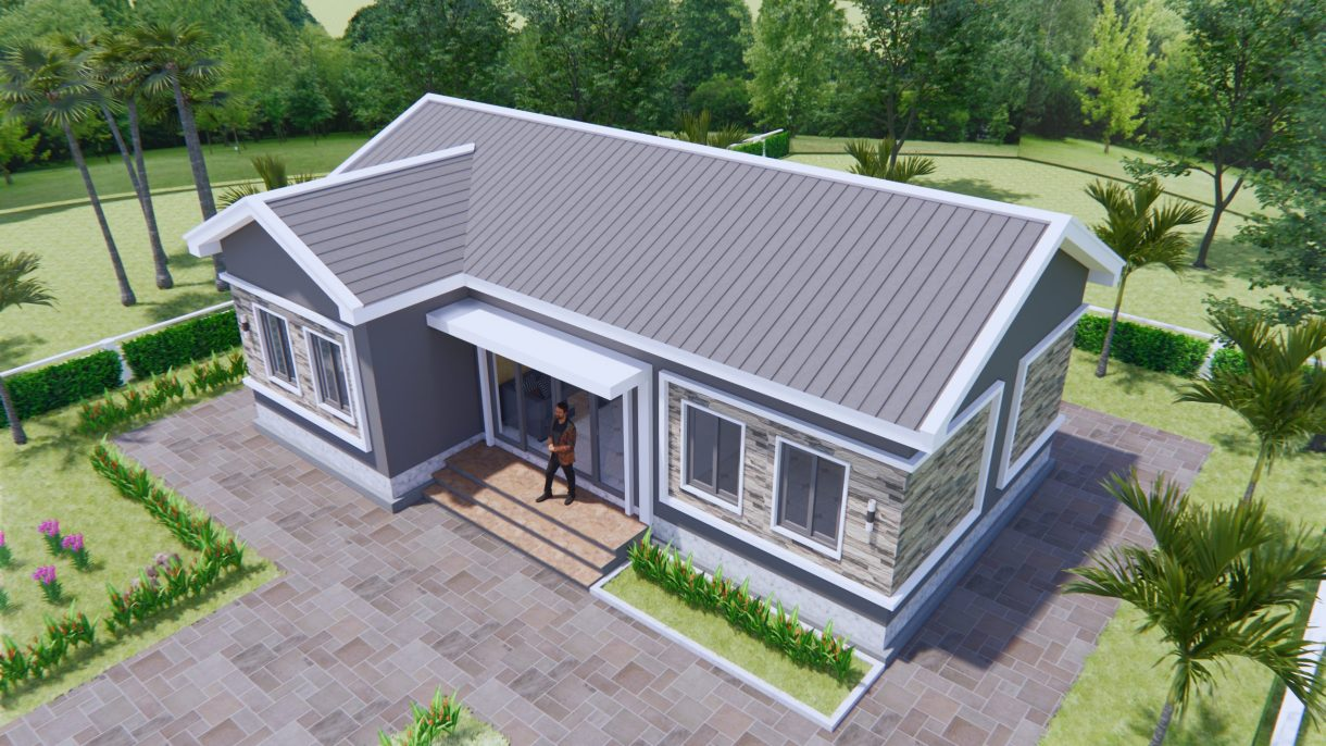 Bungalow House Plans 12x8 Meter 40x27 Feet 3 Beds 4