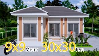 Exterior Home Design 9x9 Meters 30x30 Feet 2 Beds