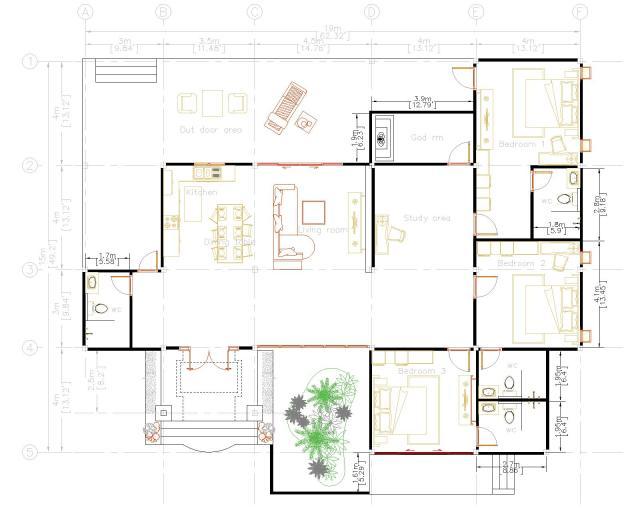 Home Design Plans 19x15 Meter 63x49 Feet 3 Beds Layout floor plan