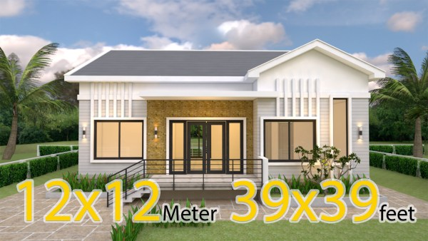 Modern Farmhouse Plans 12x12 Meter 39x39 Feet 4 Beds