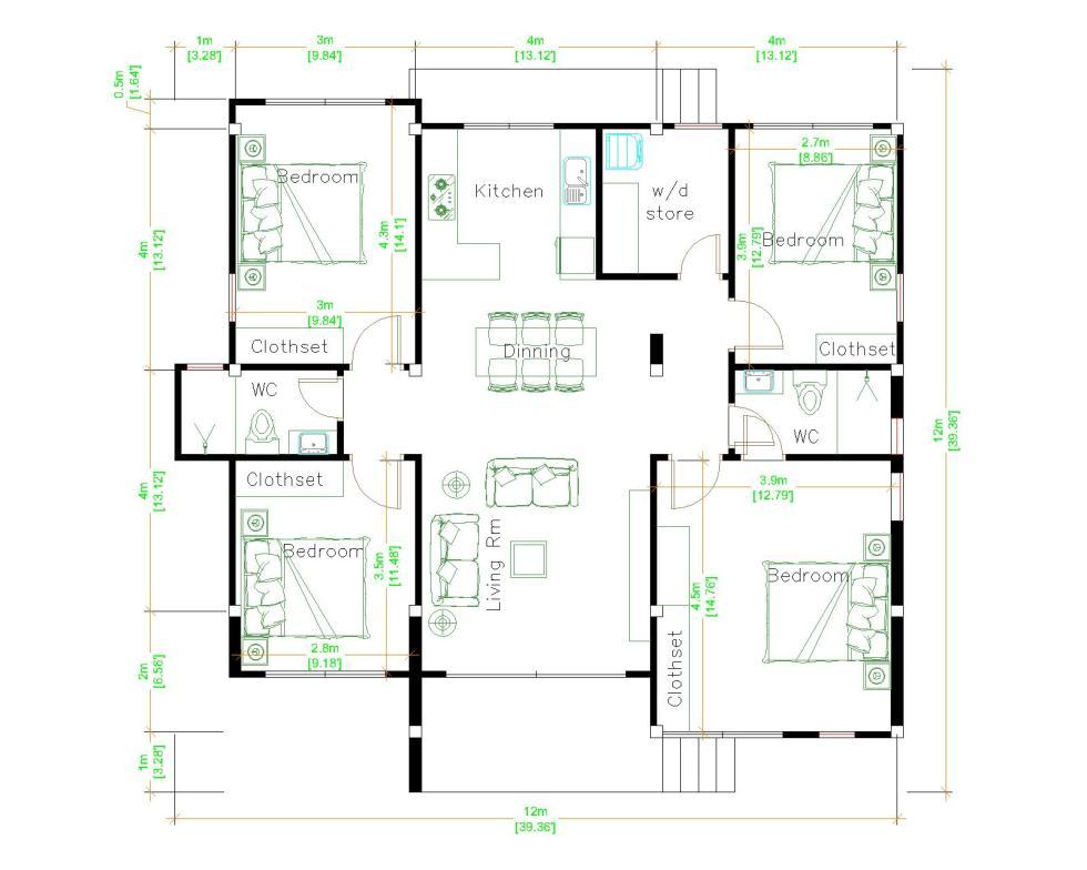 Modern House Design 12x12 Meter 39x39 Feet 4 Beds Layout floor plan