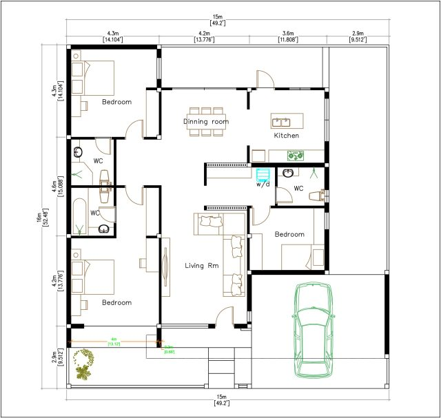 Modern House Plans 15x16 Meter 49x53 Feet 3 Beds House layout floor plan