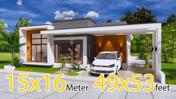 Modern House Plans 15x16 Meter 49x53 Feet 3 Beds