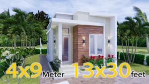 Modern Small House Design 44x9 Meter 13x30 Feet