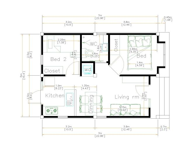 New Small House Designs 5x7 Meters 16x23 Feet floor plan