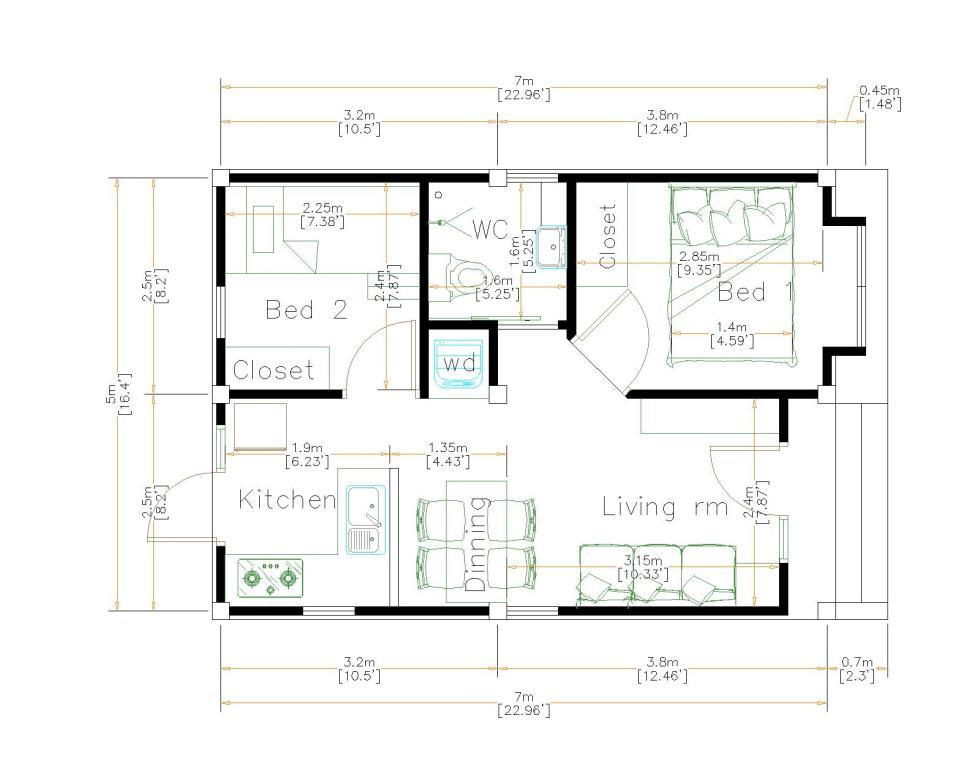 New Small House Designs 5x7 Meters 16x23 Feet floor plan