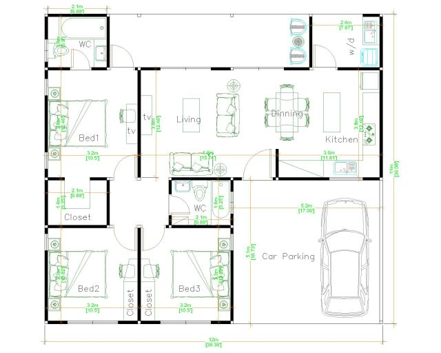 Single Story House 12x11 Meter 39x36 Feet 3 Beds floor plan